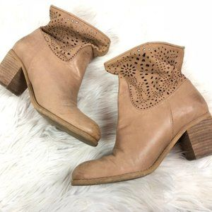 Crown Vintage cutout stacked block heel tan bootie